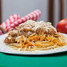 Espaguete de Pupunha a Bolonhesa de Frango . Clique para mais informações.