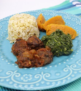 Prato Feito - Kibeijão com Purê de Abóbora, Arroz e Couve. Clique para mais informações.