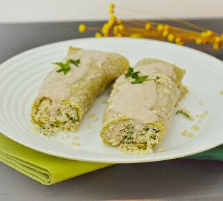 Panqueca de Espinafre com Ricota de Amendoim. Clique para mais informações.