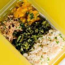Sobrecoxa de frango, feijão branco, arroz integral, abóbora e brócolis congelado. Clique para mais informações.