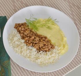 Carne Moída, Purê de Batatas e Arroz. Clique para mais informações.