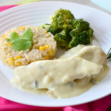 Frango ao Gorgonzola, Arroz Integral com Milho e Brócolis. Clique para mais informações.